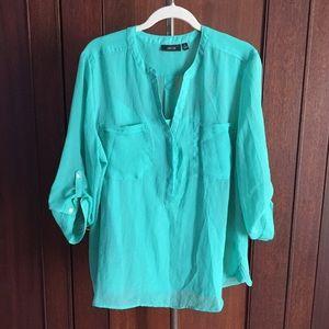 Verdigris green aqua blouse w cami XL